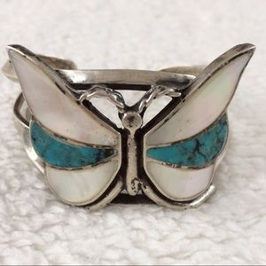 Vintage Silver Turquoise Butterfly Cuff Bracelet